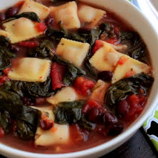 Spinach and Black Bean Ravioletti Soup.