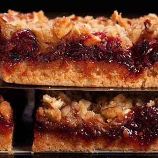 Cranberry Shortbread Bars with Almond Streusel.
