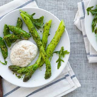Burrata with Asparagus, Sugar Snap Peas and Pistachio-Arugula Pesto.