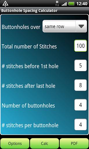 Knitting Buttonhole Calculator