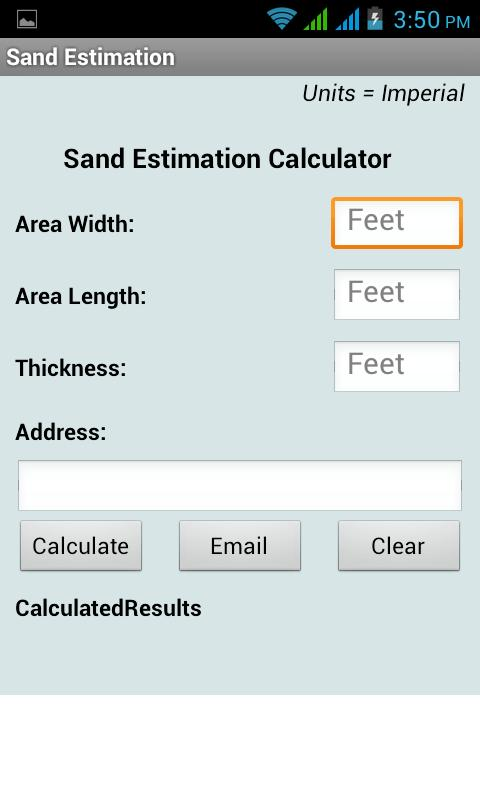 Sand estimation calculator android apps on google play for Soil removal calculator
