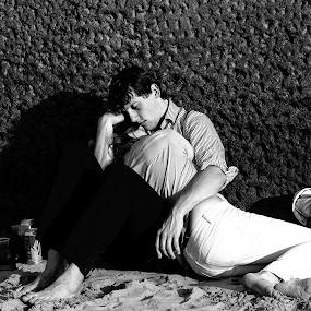 Summer Love by Neil Jayaratne - People Couples ( love, london, black and white, d800, summer, beach, nikon, street photography )