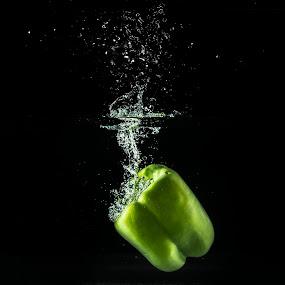 Splash Pepper by Daniel Craig Johnson - Food & Drink Fruits & Vegetables ( splash, green, food, vegetables, pepper )