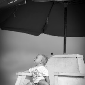 Life guard by Timothy Scarsphotography - Babies & Children Child Portraits ( black/white, summer, life guard, baby, beach,  )