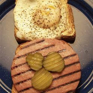 Kevin's Toasted Honey Wheat Berry Bologna and Egg Sandwich.