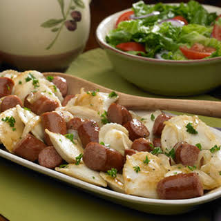 Polish Kielbasa and Pierogies.
