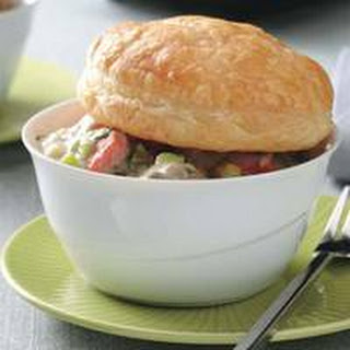 Mini Salmon-Mushroom Potpies with Roasted Green Beans.