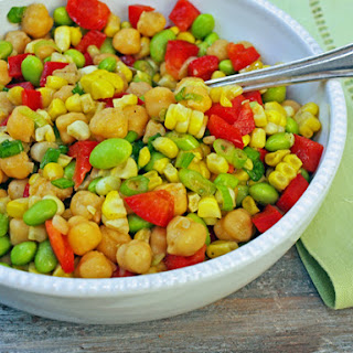 Chickpea, Corn & Red Pepper Salad with Honey-Lime Vinaigrette