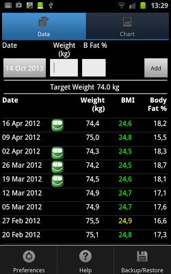 Weight Monitor - screenshot