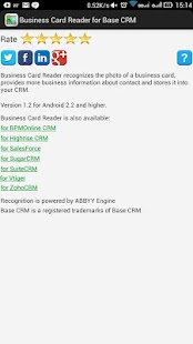 Free Business Card Reader for Base CRM- screenshot thumbnail