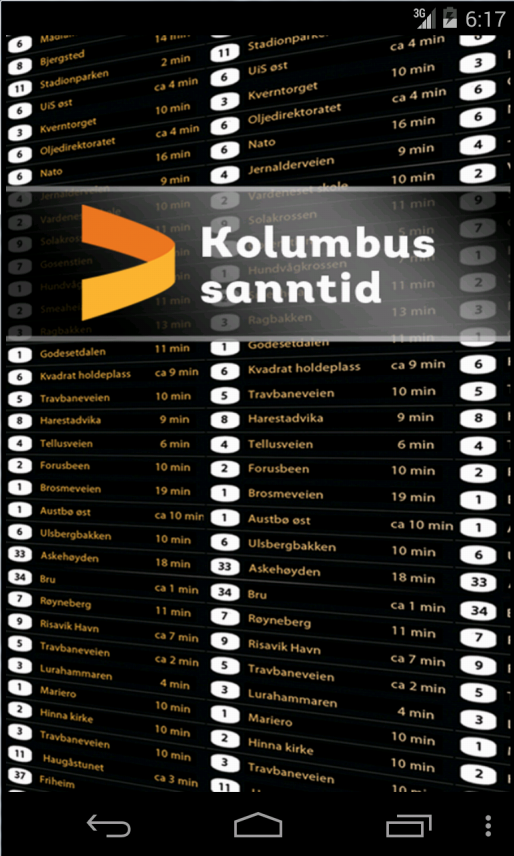 Kolumbus Sanntid - screenshot