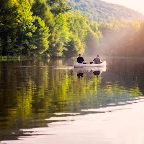 Sun Ray Canoe  by Lance Emerson - People Family ( canoe, lake, fishing, boat )