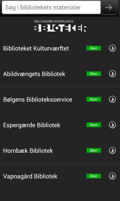 Helsingørs Biblioteker - screenshot