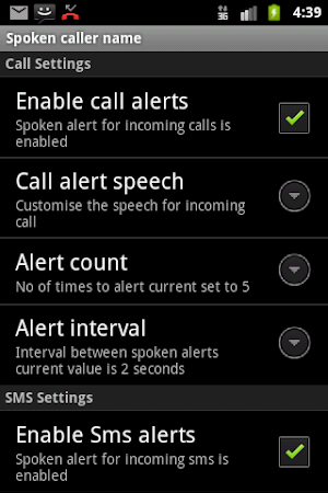 Talking SMS and Caller ID Free 1.16 screenshot 327537