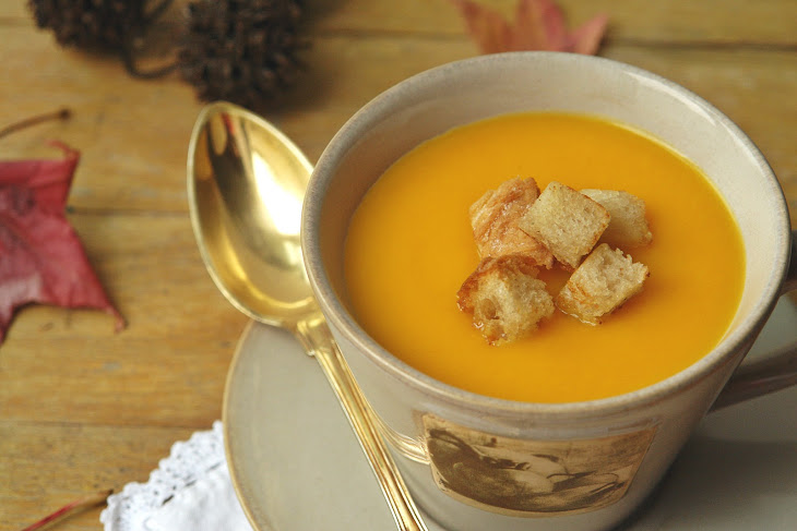 Pumpkin and Carrot Cream Soup with Sourdough Bread Croutons Recipe