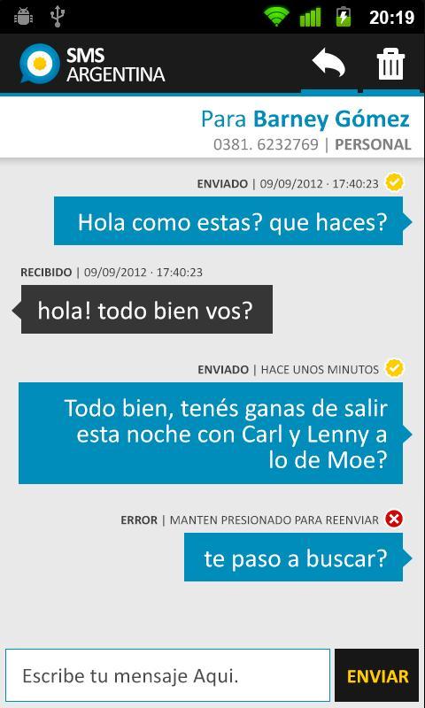 SMS Gratis Argentina- screenshot