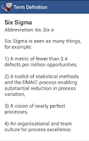Screenshot of Six Sigma Glossary