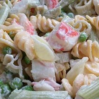 Colorful Seafood Pasta Salad.