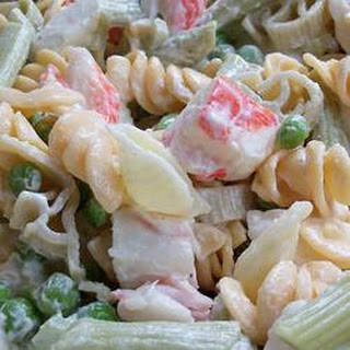 Colorful Seafood Pasta Salad.