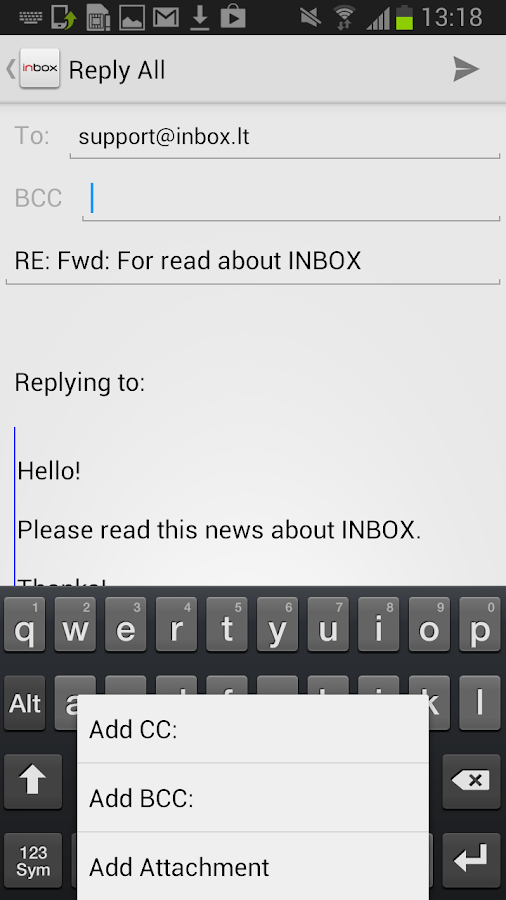 Inbox.lt - screenshot