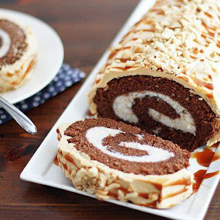 Chocolate Roll Cake With Peanut Butter Buttercream Frosting