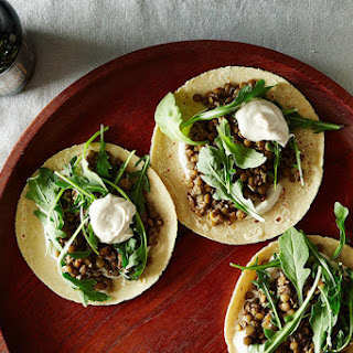 Mushroom-Lentil Tacos with Tahini Yogurt Sauce