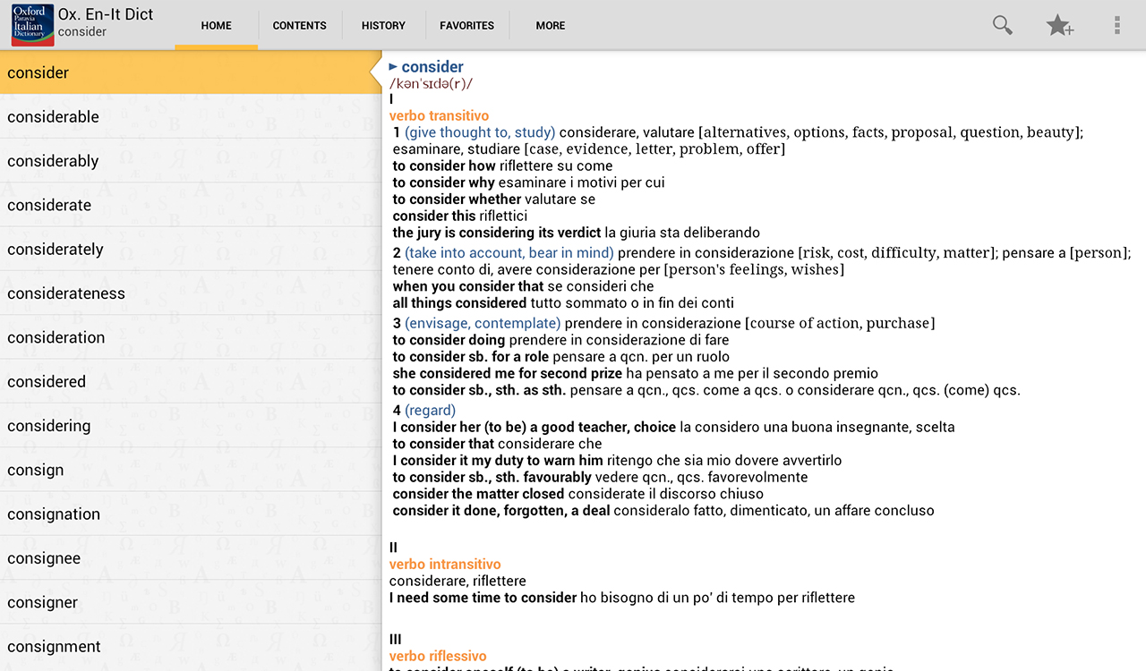 Oxford  Italian Dictionary- screenshot