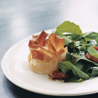 Dandelion Salad with Lardons and Goat Cheese Phyllo Blossoms