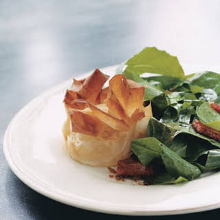 Dandelion Salad with Lardons and Goat Cheese Phyllo Blossoms.