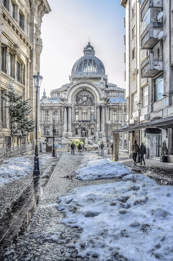 CEC Bank by Victor Radulescu - City,  Street & Park  Historic Districts ( urban, winter, street, historic district, bank )
