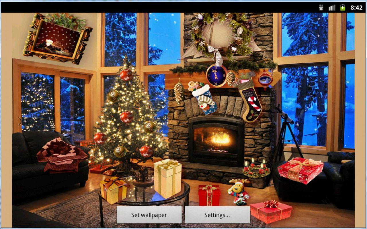 Christmas Fireplace LWP Full Android Apps On Google Play - Christmas cabin fireplace scenes