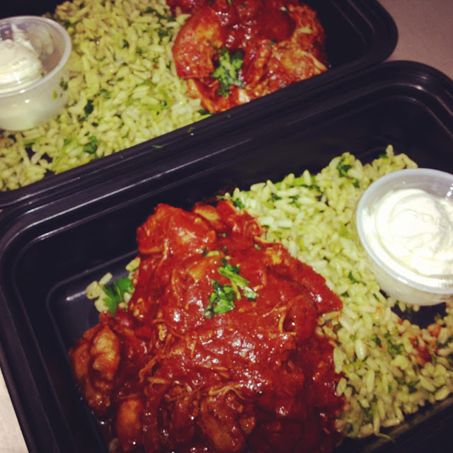 Red chile chicken with cilantro lime rice