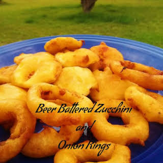 Beer Battered Zucchini and Onion Rings.