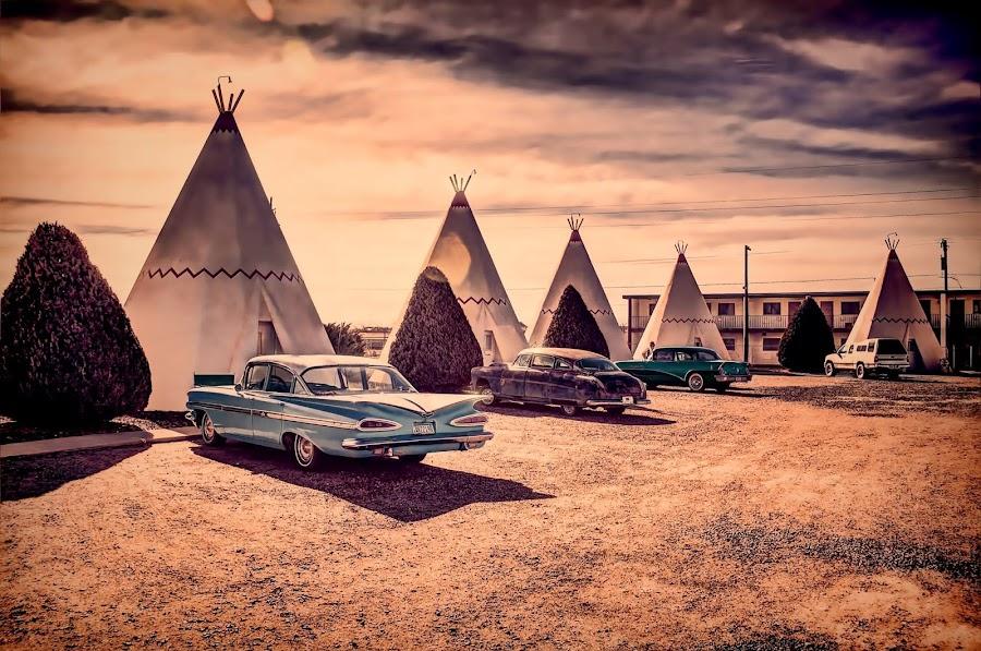 Retro look for a retro location by David Lane - Transportation Automobiles ( motel, teepee, vintage, cars, arizona )