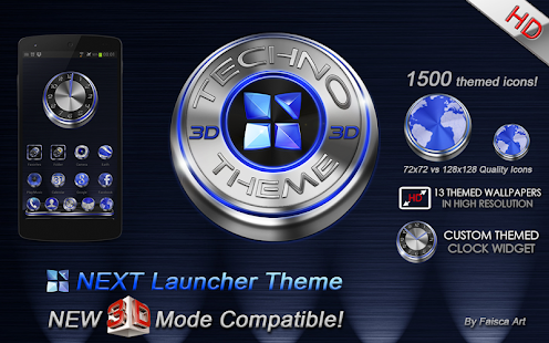 Next Launcher Theme Techno 3D