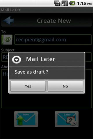 email Later- screenshot