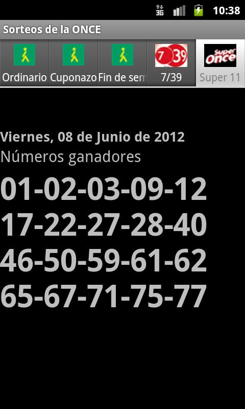 Sorteos de la ONCE - screenshot