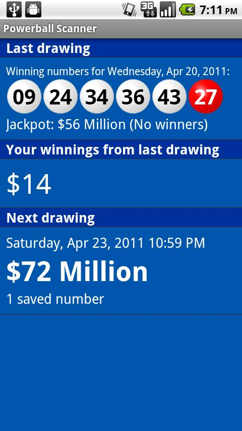 Powerball Scanner - screenshot