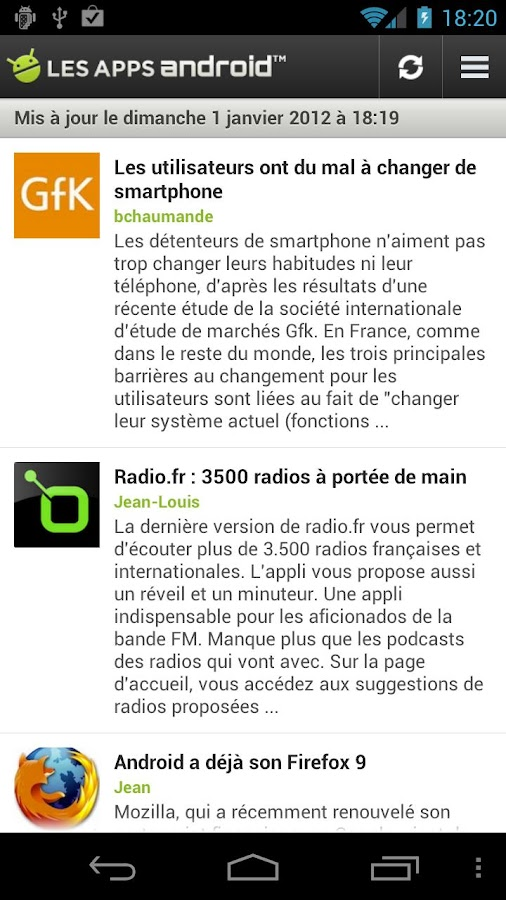 Les Applications Android (LAA) - screenshot
