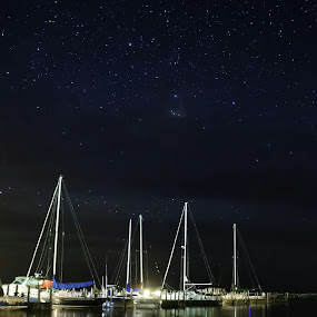 Night on the Harbor by Nicole Baumchen - Landscapes Starscapes ( water, michigan, reflection, huron, star, astrophotography, night, lake, sailboat, boat,  )