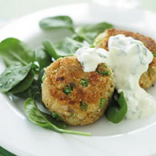 Salmon And Pea Patties With Mint Raita