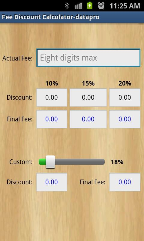 Fee Discount Calculator - screenshot