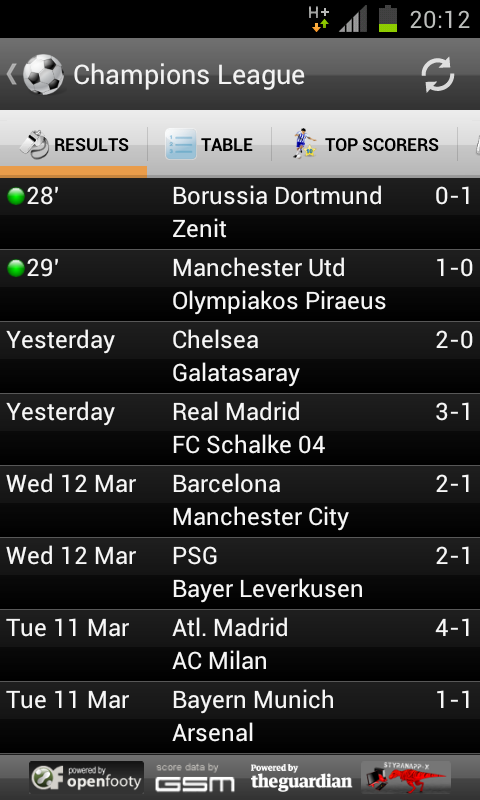 EU Match Center - Live Scores - screenshot