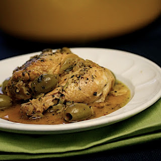 Chicken Tagine with Fennel, Preserved Lemons, and Green Olives.