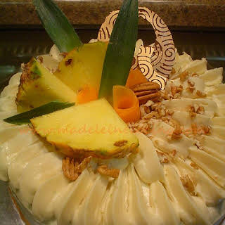 Carrot and Pineapple Cake with Lemon Cream Cheese Frosting.
