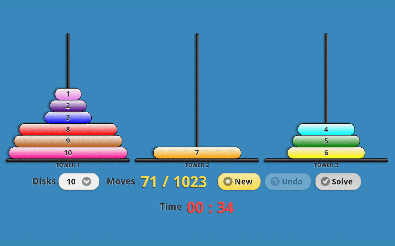 Tower of Hanoi Pro Drag-n-Drop - screenshot