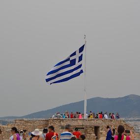 Greece by Cal Johnson - City,  Street & Park  Skylines ( history, flag, blue, patriotic, greece )
