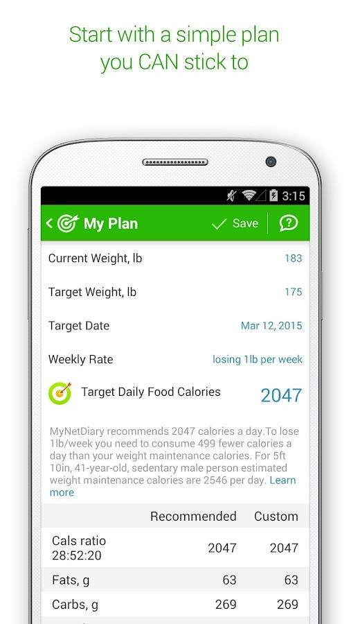 MyNetDiary Calorie Counter PRO - screenshot