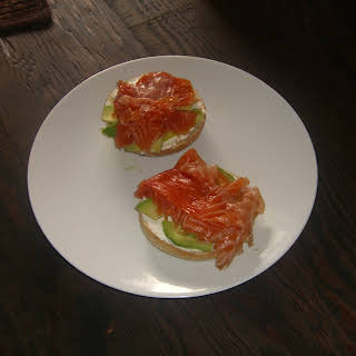 Cured Salmon, Avocado and Cream Cheese on a Bagel.