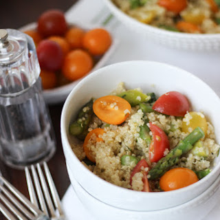 Quinoa Salad with Asparagus and Tomato in a Lemon Basil Vinaigrette